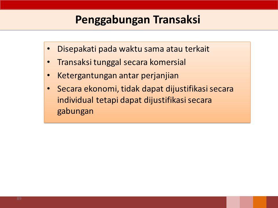Penggabungan Transaksi Disepakati pada waktu sama atau terkait Transaksi tunggal secara komersial Ketergantungan antar perjanjian Secara ekonomi, tida