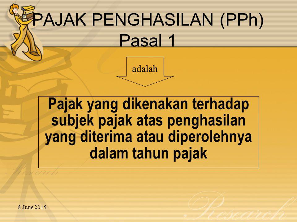 8 June 2015 BAGAN SUBJEK PAJAK SUBJEK PAJAK SUBJEK PAJAK LUAR NEGERI SUBJEK PAJAK DALAM NEGERI Orang Pribadi Badan BUT Non BUT Seluruh Penghasilan Penghasilan dari kegiatan operasi dan harta yang dimiliki/dikuasai Penghasilan kantor pusat Penghasilan lainnya yang diperoleh sehubungan dengan penghasilan kantor pusat Penghasilan yang diperoleh dari Indonesia Pasal 5(1) Pasal 4 Pasal 2(2) Pasal 2(3) Pasal 2(4) Objek Pajak Warisan yang belum terbagi Orang Pribadi Badan