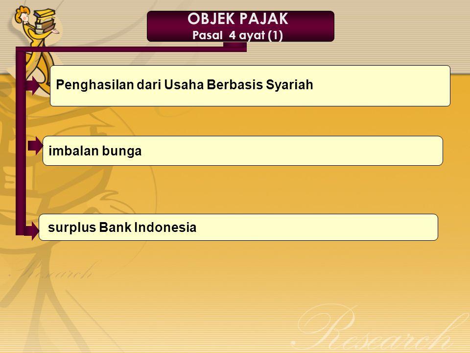 Penghasilan dari Usaha Berbasis Syariah surplus Bank Indonesia imbalan bunga OBJEK PAJAK Pasal 4 ayat (1)