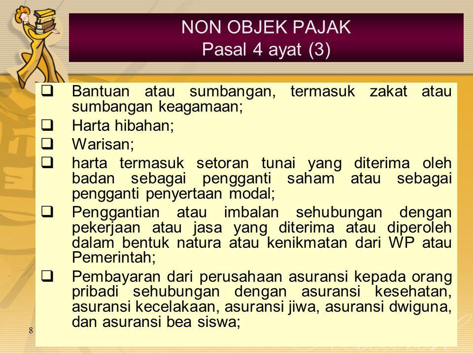 8 June 2015 NON OBJEK PAJAK Pasal 4 ayat (3)  Bantuan atau sumbangan, termasuk zakat atau sumbangan keagamaan;  Harta hibahan;  Warisan;  harta te