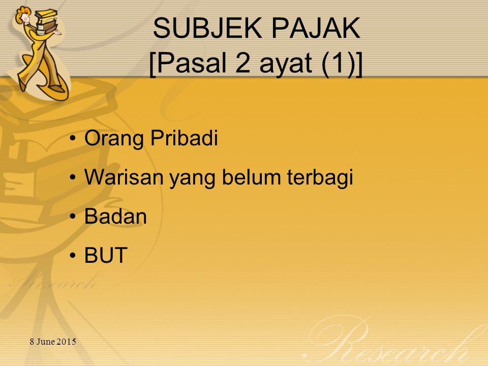 8 June 2015 SUBJEK PAJAK [Pasal 2 ayat (1)] Orang Pribadi Warisan yang belum terbagi Badan BUT