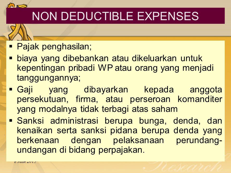8 June 2015  Pajak penghasilan;  biaya yang dibebankan atau dikeluarkan untuk kepentingan pribadi WP atau orang yang menjadi tanggungannya;  Gaji y