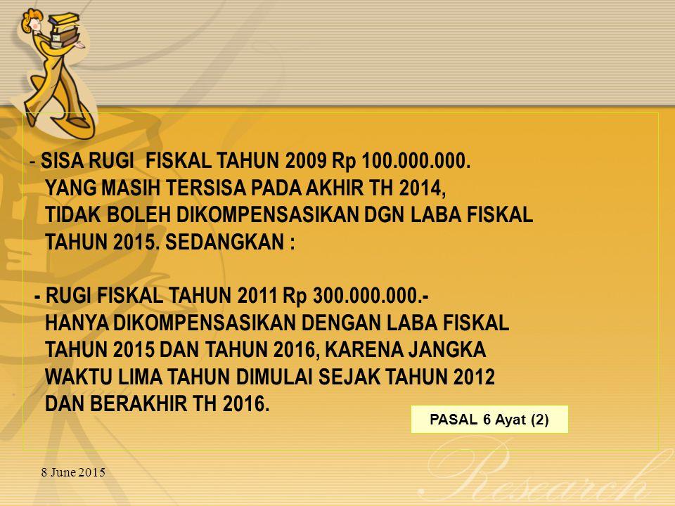 8 June 2015 - SISA RUGI FISKAL TAHUN 2009 Rp 100.000.000.
