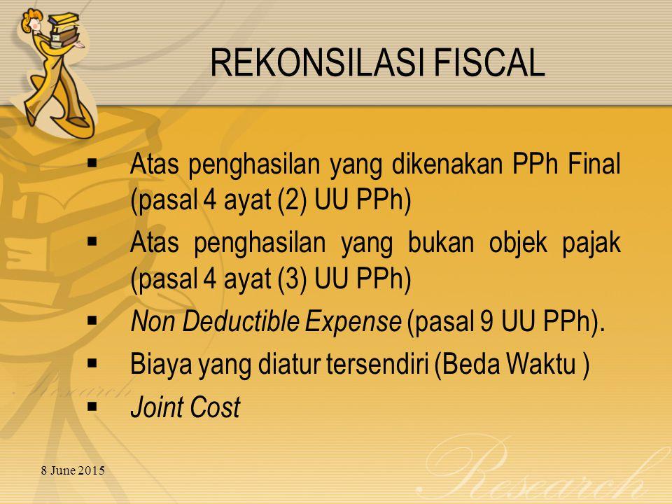 8 June 2015 REKONSILASI FISCAL  Atas penghasilan yang dikenakan PPh Final (pasal 4 ayat (2) UU PPh)  Atas penghasilan yang bukan objek pajak (pasal 4 ayat (3) UU PPh)  Non Deductible Expense (pasal 9 UU PPh).