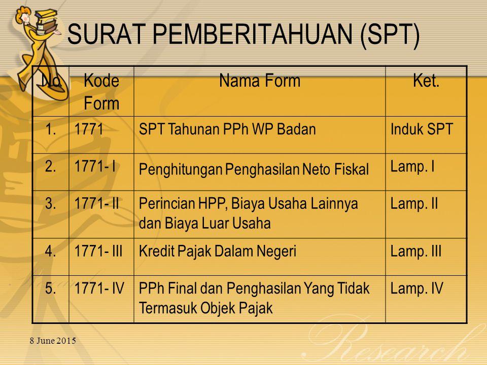 8 June 2015 SURAT PEMBERITAHUAN (SPT) NoKode Form Nama FormKet.