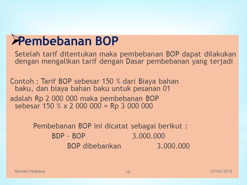  Pembebanan BOP Setelah tarif ditentukan maka pembebanan BOP dapat dilakukan dengan mengalikan tarif dengan Dasar pembebanan yang terjadi Contoh : Ta