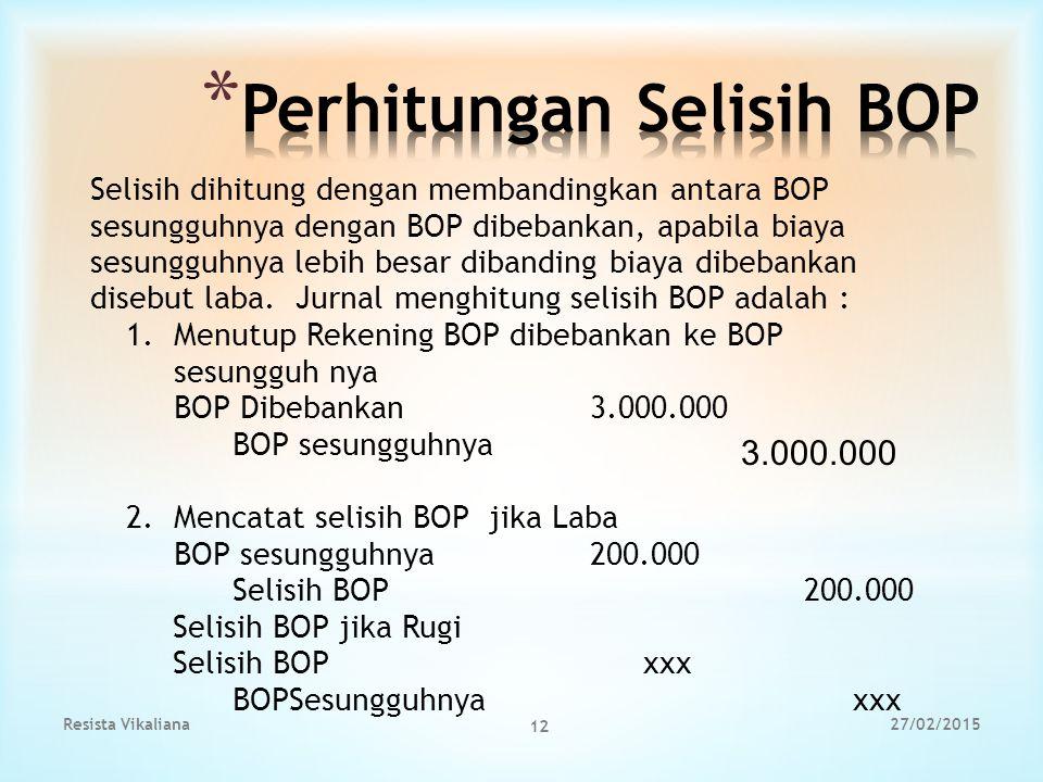 Selisih dihitung dengan membandingkan antara BOP sesungguhnya dengan BOP dibebankan, apabila biaya sesungguhnya lebih besar dibanding biaya dibebankan