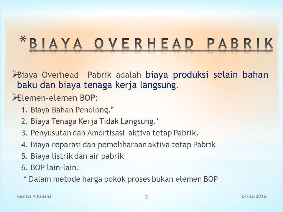  Biaya Overhead Pabrik adalah biaya produksi selain bahan baku dan biaya tenaga kerja langsung.  Elemen-elemen BOP: 1. Biaya Bahan Penolong.* 2. Bia