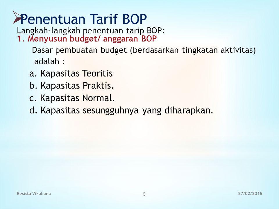  Penentuan Tarif BOP Langkah-langkah penentuan tarip BOP: 1. Menyusun budget/ anggaran BOP Dasar pembuatan budget (berdasarkan tingkatan aktivitas) a