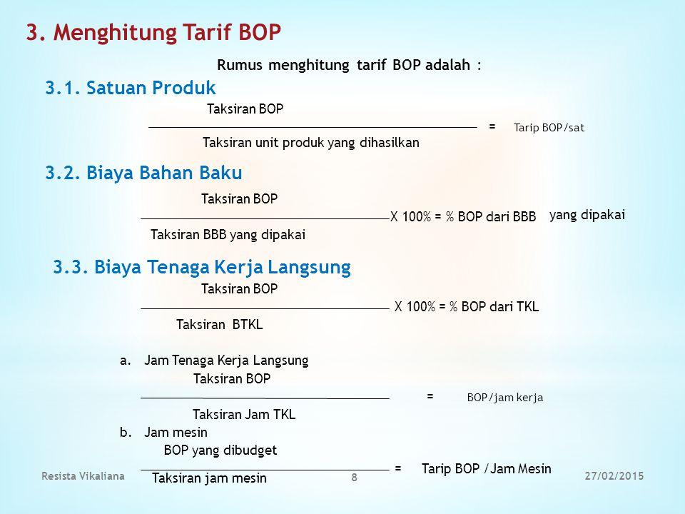 3. Menghitung Tarif BOP Rumus menghitung tarif BOP adalah : 3.1. Satuan Produk Taksiran BOP = Tarip BOP/sat Taksiran unit produk yang dihasilkan Taksi