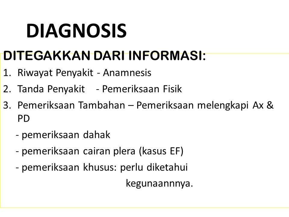 DIAGNOSIS DITEGAKKAN DARI INFORMASI: 1.Riwayat Penyakit - Anamnesis 2.Tanda Penyakit - Pemeriksaan Fisik 3.Pemeriksaan Tambahan – Pemeriksaan melengkapi Ax & PD - pemeriksaan dahak - pemeriksaan cairan plera (kasus EF) - pemeriksaan khusus: perlu diketahui kegunaannnya.