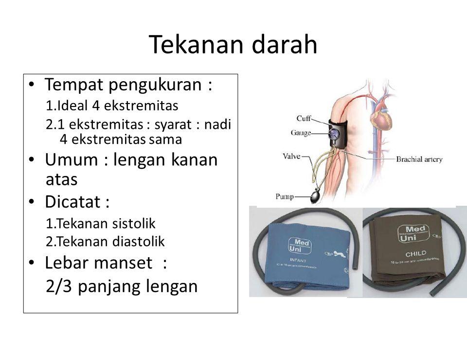 Tekanan darah Tempat pengukuran : 1.Ideal 4 ekstremitas 2.1 ekstremitas : syarat : nadi 4 ekstremitas sama Umum : lengan kanan atas Dicatat : 1.Tekana