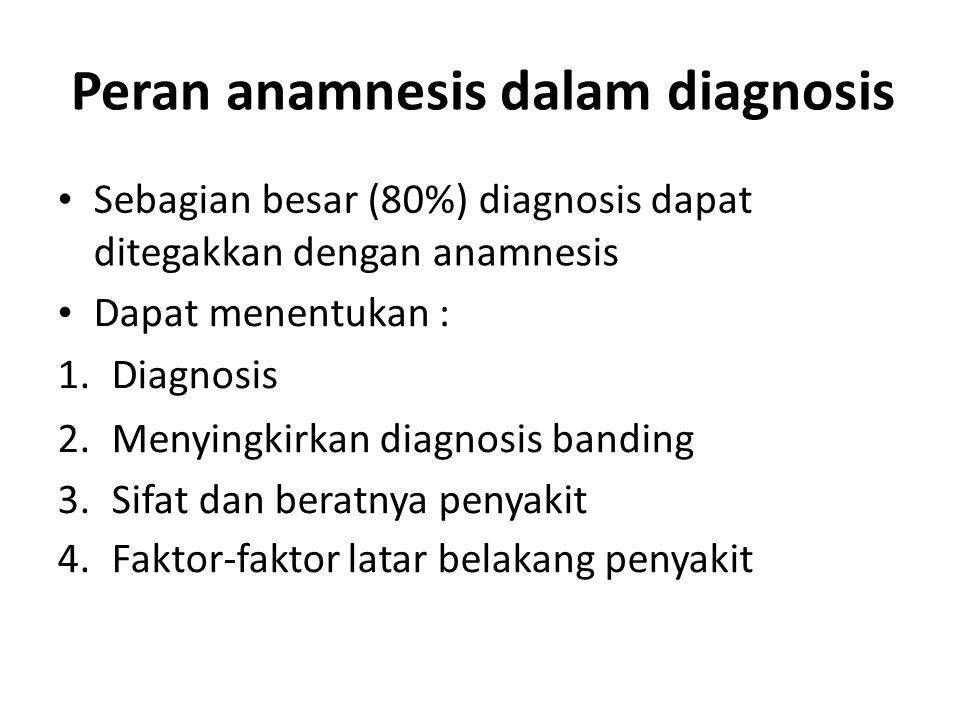 Peran anamnesis dalam diagnosis Sebagian besar (80%) diagnosis dapat ditegakkan dengan anamnesis Dapat menentukan : 1. Diagnosis 2. Menyingkirkan diag