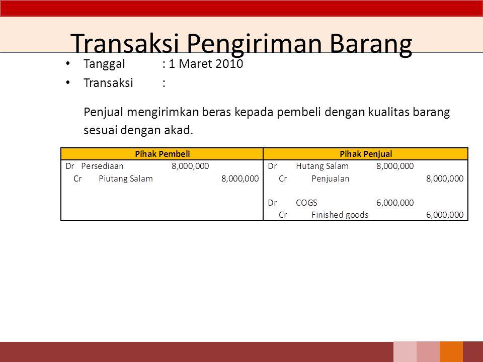 Transaksi Pengiriman Barang Tanggal: 1 Maret 2010 Transaksi: Penjual mengirimkan beras kepada pembeli dengan kualitas barang sesuai dengan akad.