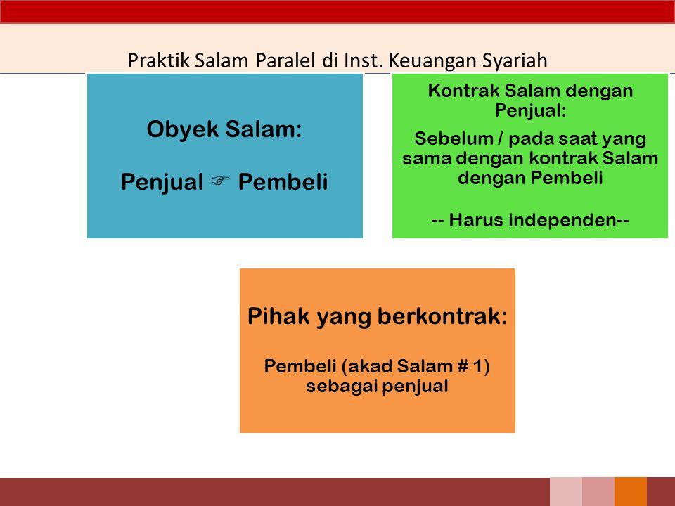 Praktik Salam Paralel di Inst. Keuangan Syariah Obyek Salam: Penjual  Pembeli Kontrak Salam dengan Penjual: Sebelum / pada saat yang sama dengan kont