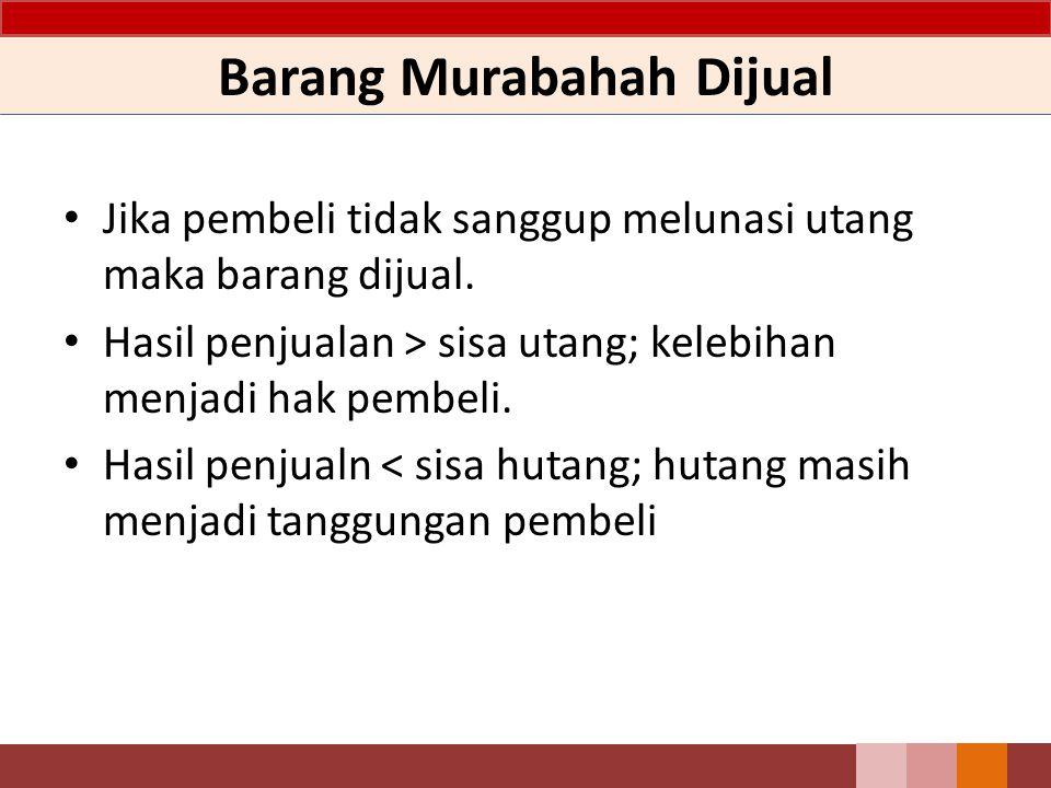 Barang Murabahah Dijual Jika pembeli tidak sanggup melunasi utang maka barang dijual. Hasil penjualan > sisa utang; kelebihan menjadi hak pembeli. Has