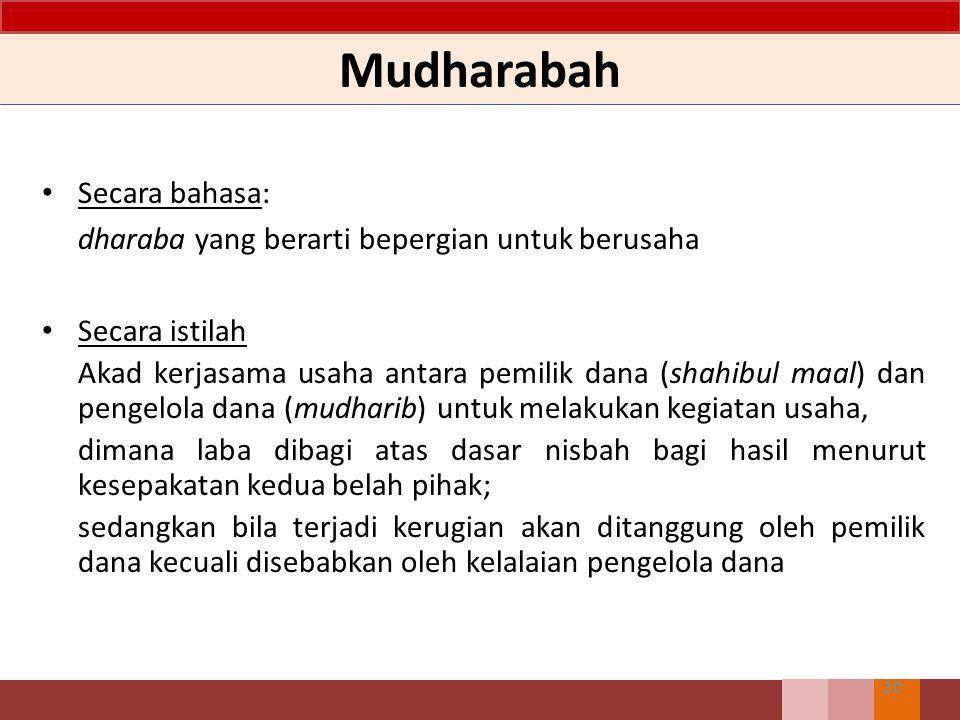 Mudharabah 30 Secara bahasa: dharaba yang berarti bepergian untuk berusaha Secara istilah Akad kerjasama usaha antara pemilik dana (shahibul maal) dan