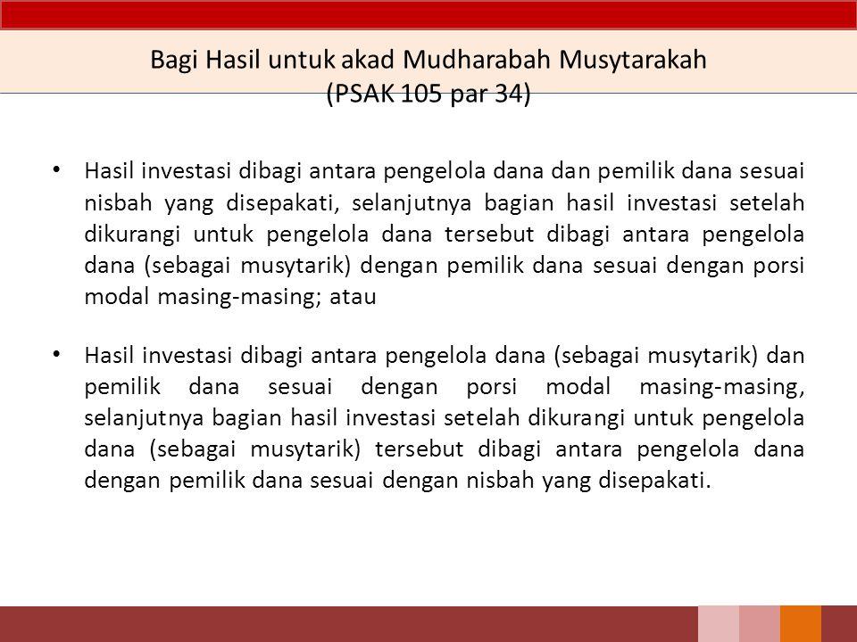 Bagi Hasil untuk akad Mudharabah Musytarakah (PSAK 105 par 34) Hasil investasi dibagi antara pengelola dana dan pemilik dana sesuai nisbah yang disepa