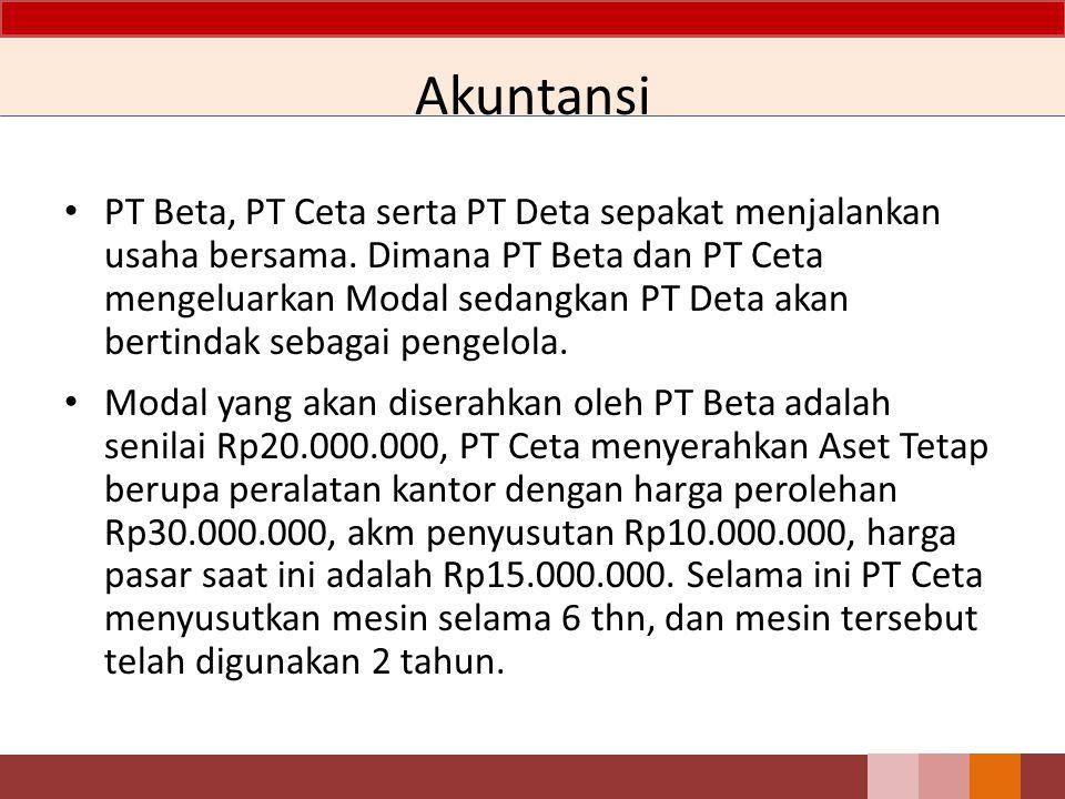 Akuntansi PT Beta, PT Ceta serta PT Deta sepakat menjalankan usaha bersama. Dimana PT Beta dan PT Ceta mengeluarkan Modal sedangkan PT Deta akan berti