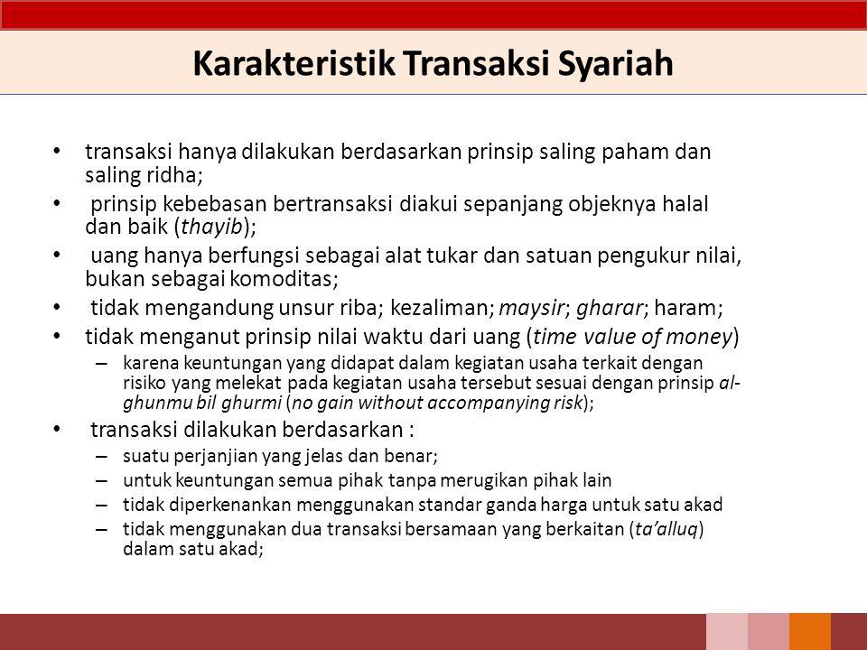 Karakteristik Transaksi Syariah transaksi hanya dilakukan berdasarkan prinsip saling paham dan saling ridha; prinsip kebebasan bertransaksi diakui sep
