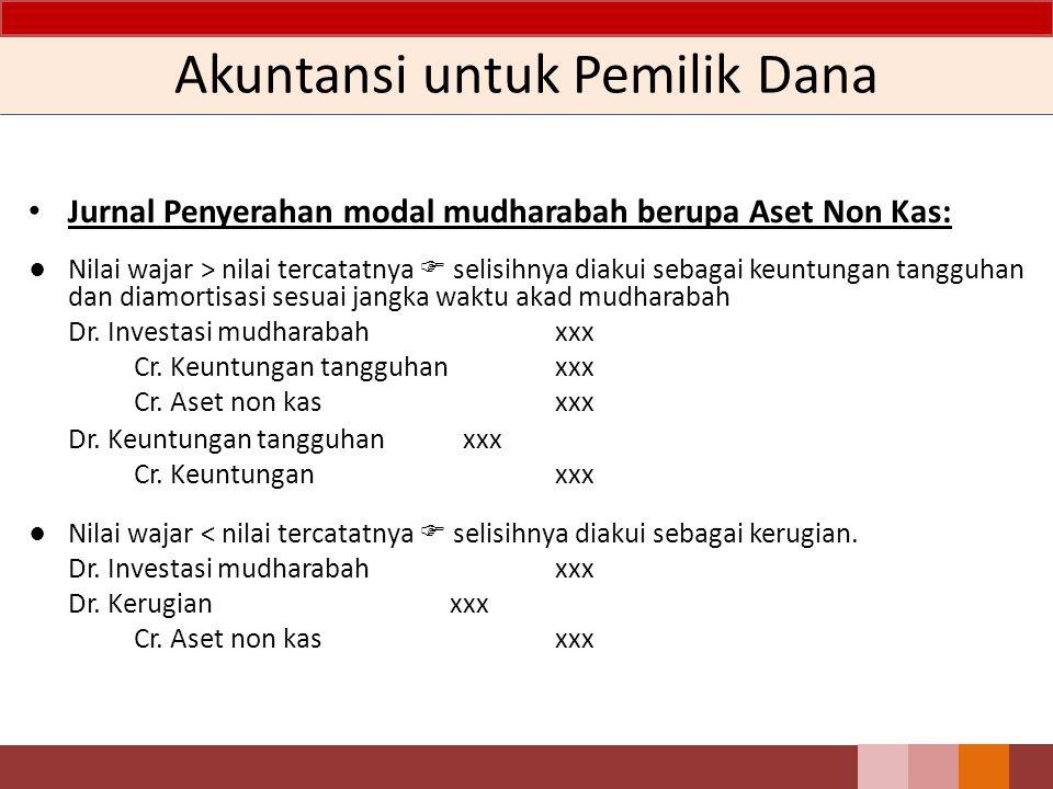 Akuntansi untuk Pemilik Dana Jurnal Penyerahan modal mudharabah berupa Aset Non Kas: ● Nilai wajar > nilai tercatatnya  selisihnya diakui sebagai keu