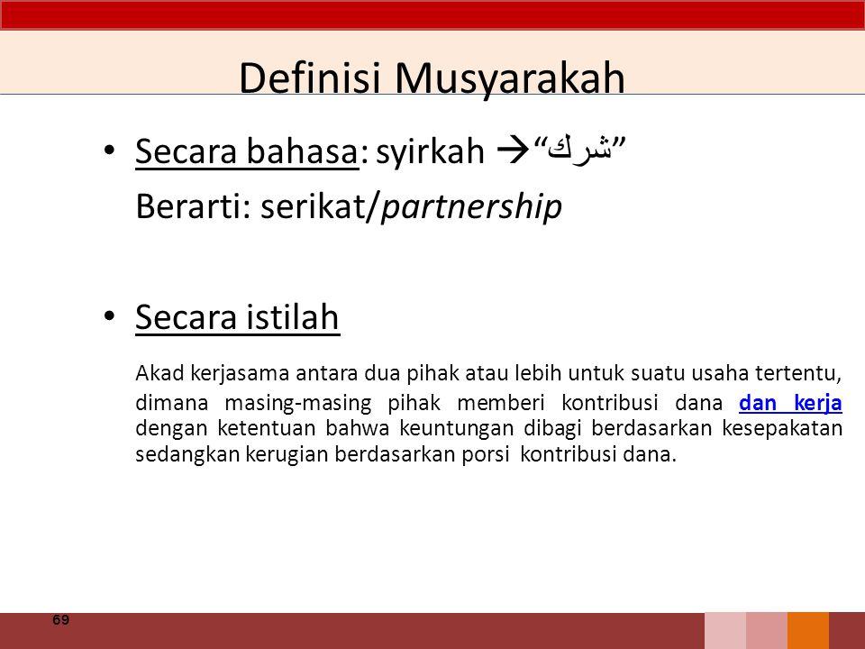 """Definisi Musyarakah Secara bahasa: syirkah  """" شرك """" Berarti: serikat/partnership Secara istilah Akad kerjasama antara dua pihak atau lebih untuk suat"""