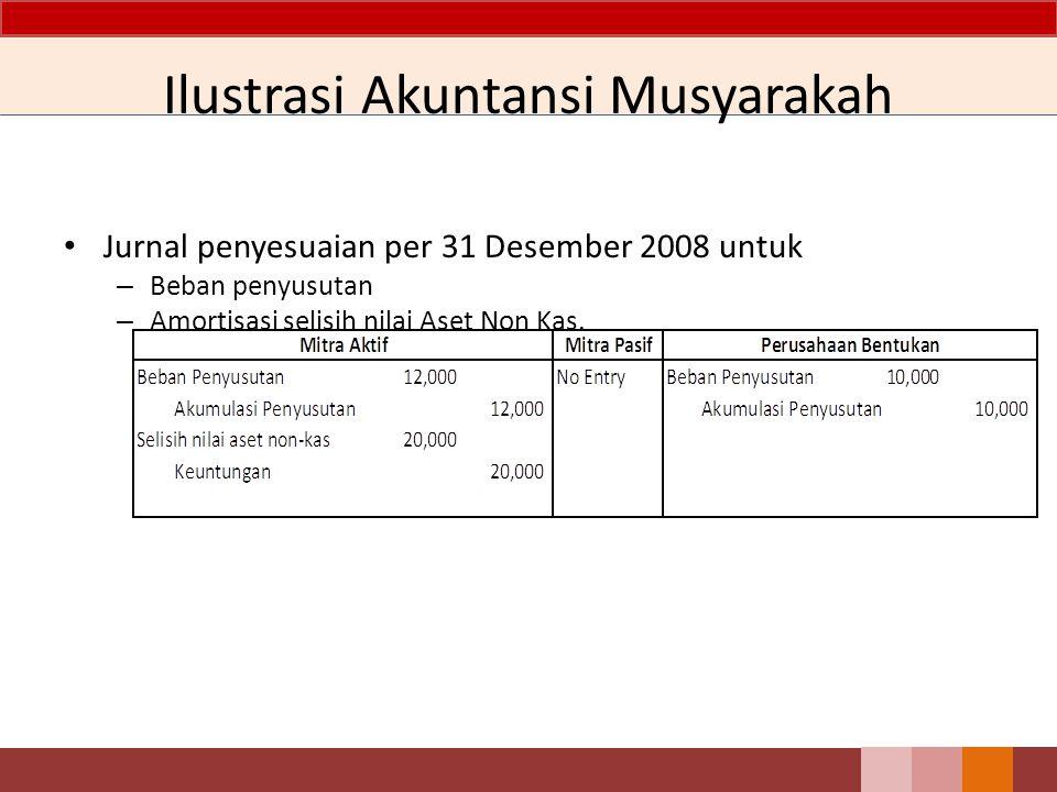Ilustrasi Akuntansi Musyarakah Jurnal penyesuaian per 31 Desember 2008 untuk – Beban penyusutan – Amortisasi selisih nilai Aset Non Kas.
