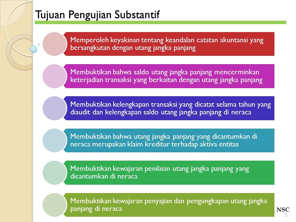 Tujuan Pengujian Substantif POLITEKNIK NSC 5 Memperoleh keyakinan tentang keandalan catatan akuntansi yang bersangkutan dengan utang jangka panjang Me