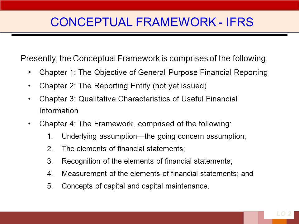 CONCEPTUAL FRAMEWORK - IFRS Presently, the Conceptual Framework is comprises of the following. Chapter 1: The Objective of General Purpose Financial R