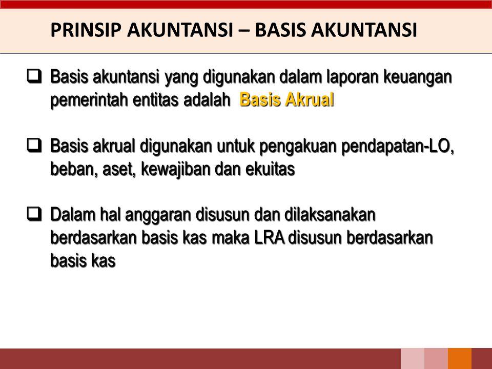 PRINSIP AKUNTANSI – BASIS AKUNTANSI  Basis akuntansi yang digunakan dalam laporan keuangan pemerintah entitas adalah Basis Akrual  Basis akrual digu