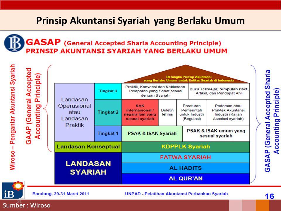 Prinsip Akuntansi Syariah yang Berlaku Umum 51 Sumber : Wiroso