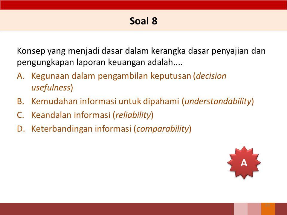 Soal 8 Konsep yang menjadi dasar dalam kerangka dasar penyajian dan pengungkapan laporan keuangan adalah.... A.Kegunaan dalam pengambilan keputusan (d
