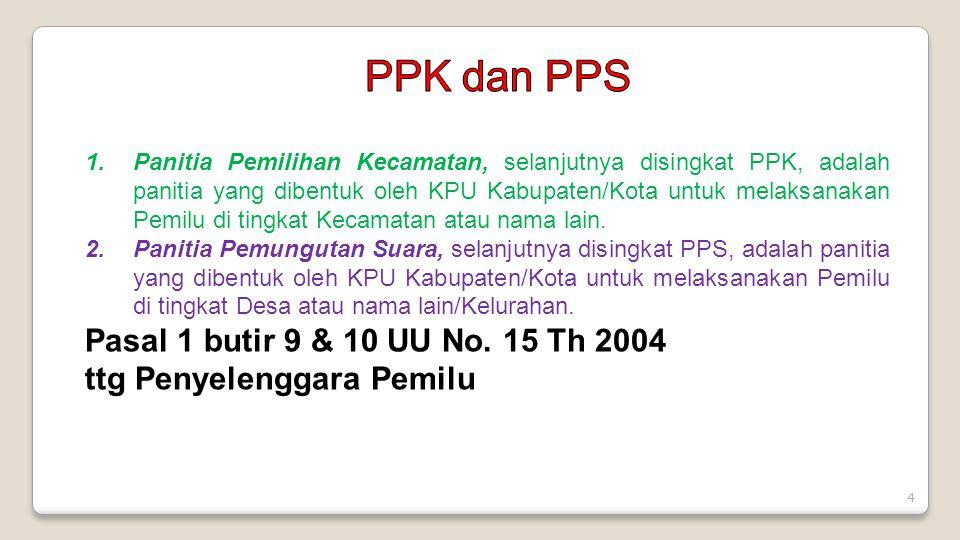 4 1.Panitia Pemilihan Kecamatan, selanjutnya disingkat PPK, adalah panitia yang dibentuk oleh KPU Kabupaten/Kota untuk melaksanakan Pemilu di tingkat Kecamatan atau nama lain.