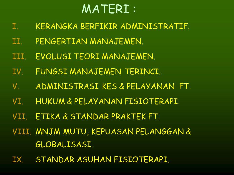MATERI : I.KERANGKA BERFIKIR ADMINISTRATIF. II.PENGERTIAN MANAJEMEN. III.EVOLUSI TEORI MANAJEMEN. IV.FUNGSI MANAJEMEN TERINCI. V.ADMINISTRASI KES & PE