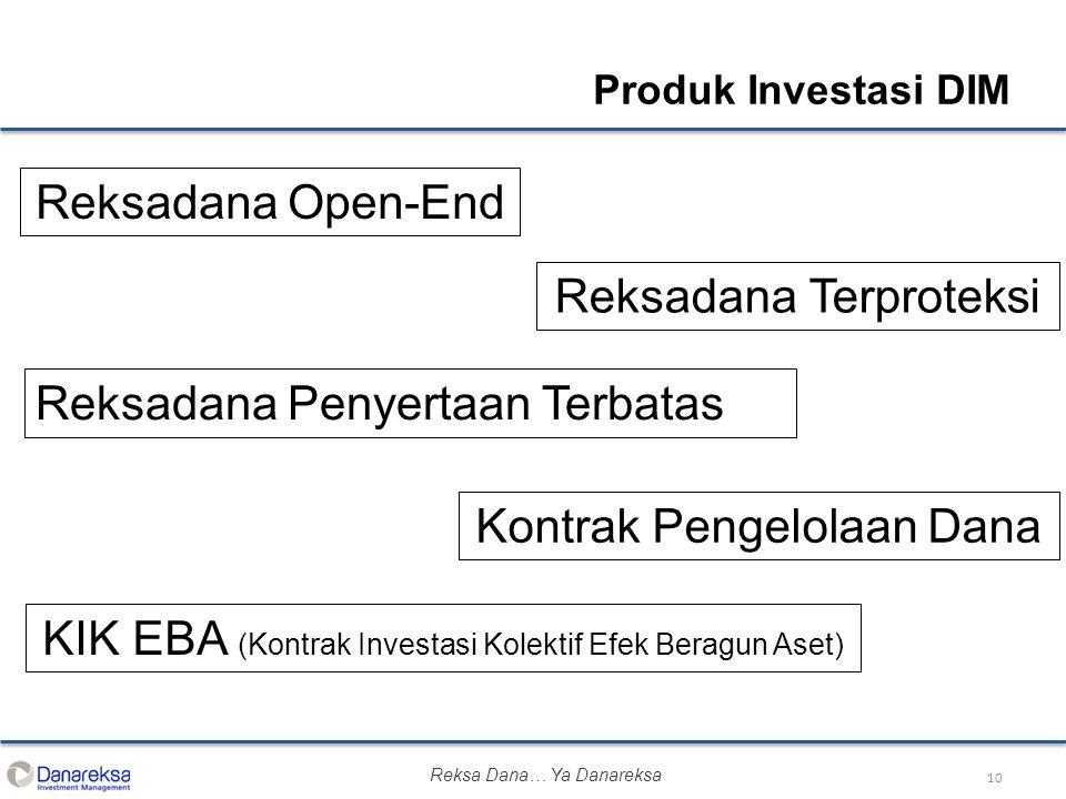 10 Produk Investasi DIM Reksadana Open-End Reksadana Terproteksi Reksadana Penyertaan Terbatas Kontrak Pengelolaan Dana KIK EBA (Kontrak Investasi Kolektif Efek Beragun Aset) Reksa Dana… Ya Danareksa