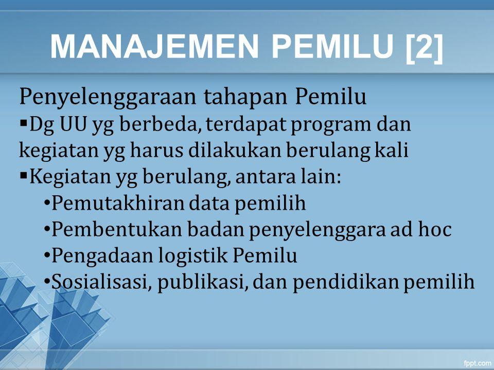 MANAJEMEN PEMILU [2] Penyelenggaraan tahapan Pemilu  Dg UU yg berbeda, terdapat program dan kegiatan yg harus dilakukan berulang kali  Kegiatan yg b