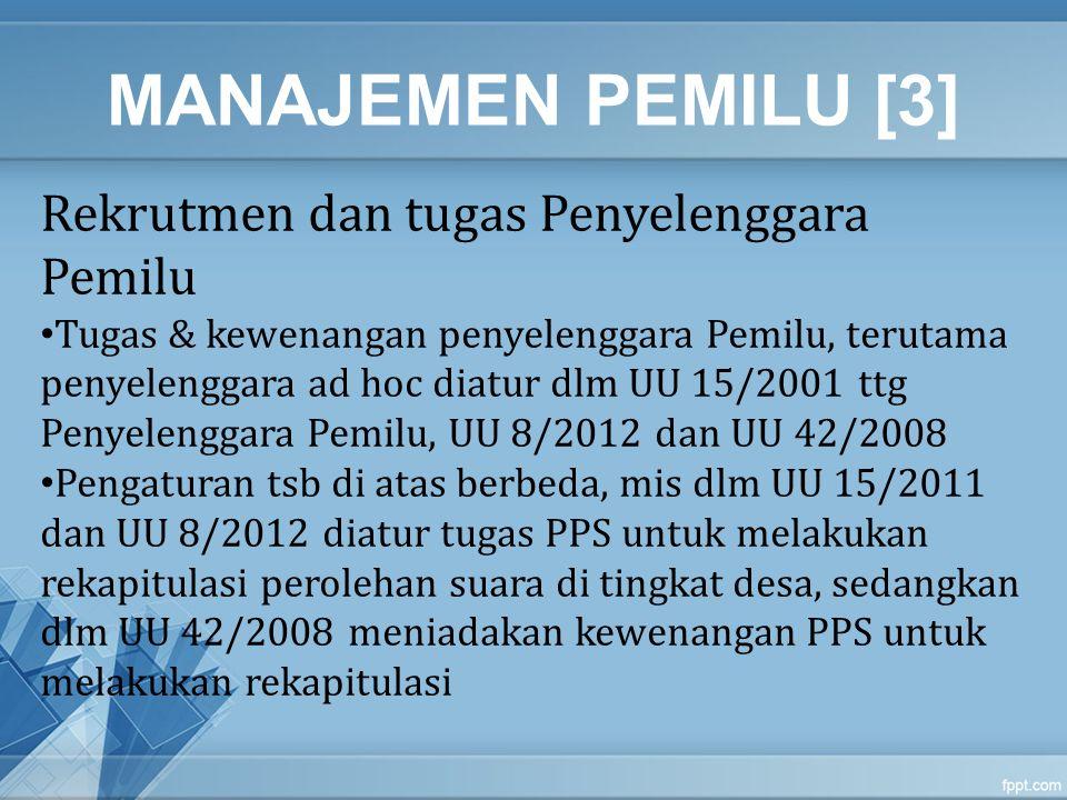 MANAJEMEN PEMILU [3] Rekrutmen dan tugas Penyelenggara Pemilu Tugas & kewenangan penyelenggara Pemilu, terutama penyelenggara ad hoc diatur dlm UU 15/