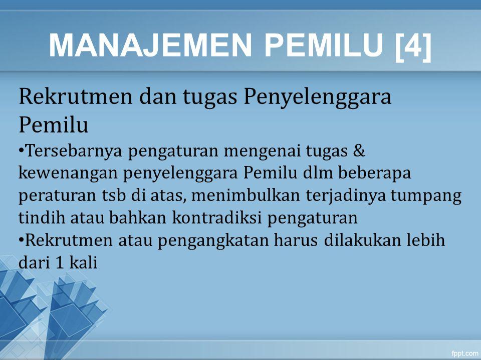 MANAJEMEN PEMILU [4] Rekrutmen dan tugas Penyelenggara Pemilu Tersebarnya pengaturan mengenai tugas & kewenangan penyelenggara Pemilu dlm beberapa per