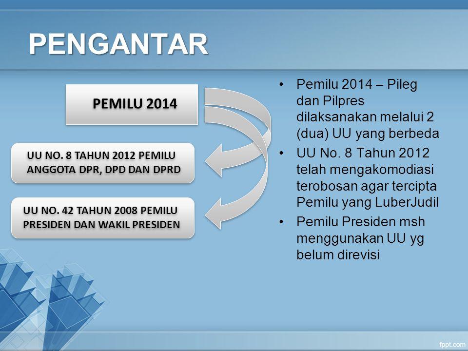 PEMILU 2014 UU NO. 8 TAHUN 2012 PEMILU ANGGOTA DPR, DPD DAN DPRD UU NO. 42 TAHUN 2008 PEMILU PRESIDEN DAN WAKIL PRESIDEN PENGANTAR Pemilu 2014 – Pileg