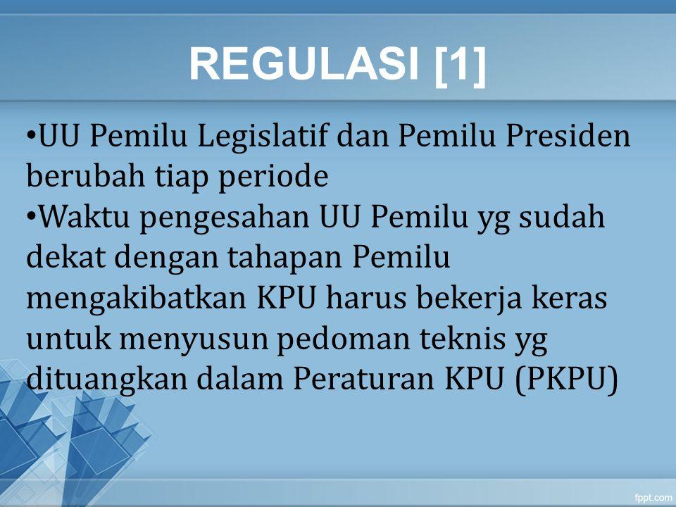 REGULASI [2] Pemilu Legislatif Tahun 2014 yang dilaksanakan sebelum Pilpres didasarkan pada UU yg baru yaitu UU 8/2012 Sedangkan untuk Pemilu Presiden Tahun 2014, karena pembahasan revisi UU Pilpres tidak dapat diselesaikan, maka masih menggunakan dasar hukum UU 42/2008