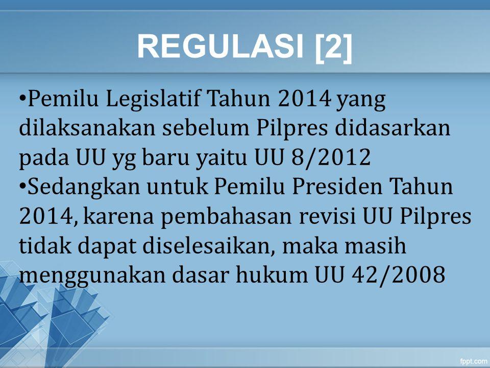 REGULASI [2] Pemilu Legislatif Tahun 2014 yang dilaksanakan sebelum Pilpres didasarkan pada UU yg baru yaitu UU 8/2012 Sedangkan untuk Pemilu Presiden