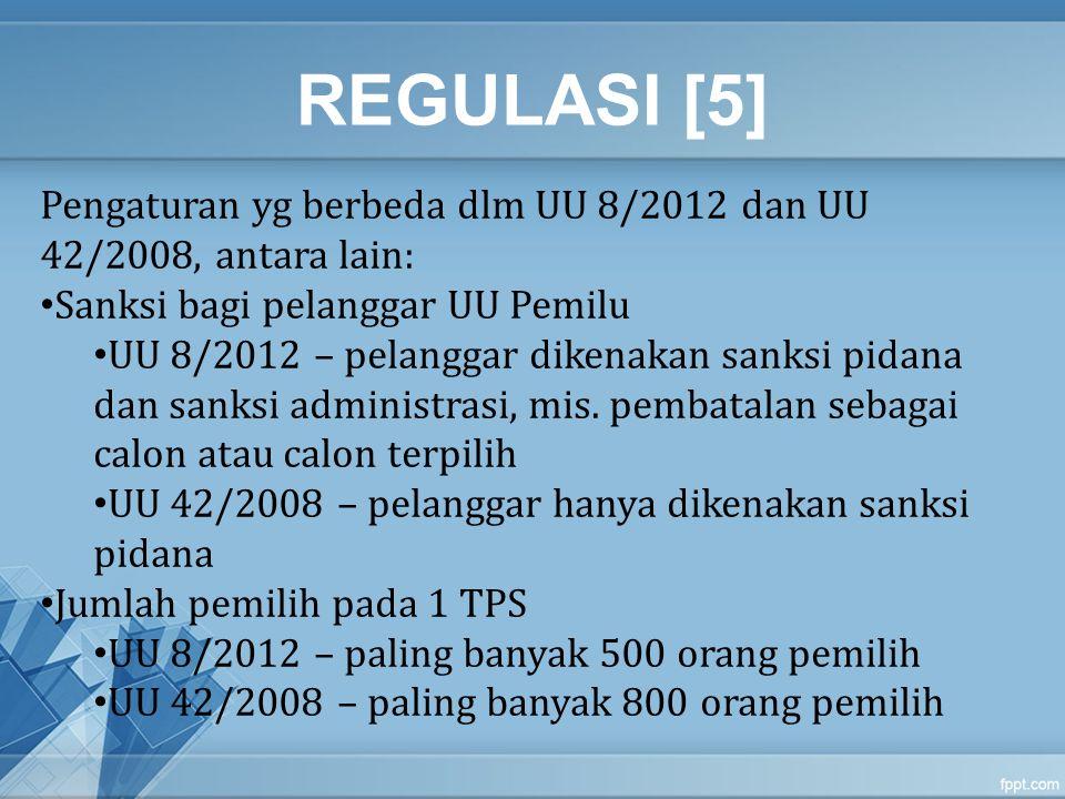 REGULASI [5] Pengaturan yg berbeda dlm UU 8/2012 dan UU 42/2008, antara lain: Sanksi bagi pelanggar UU Pemilu UU 8/2012 – pelanggar dikenakan sanksi p