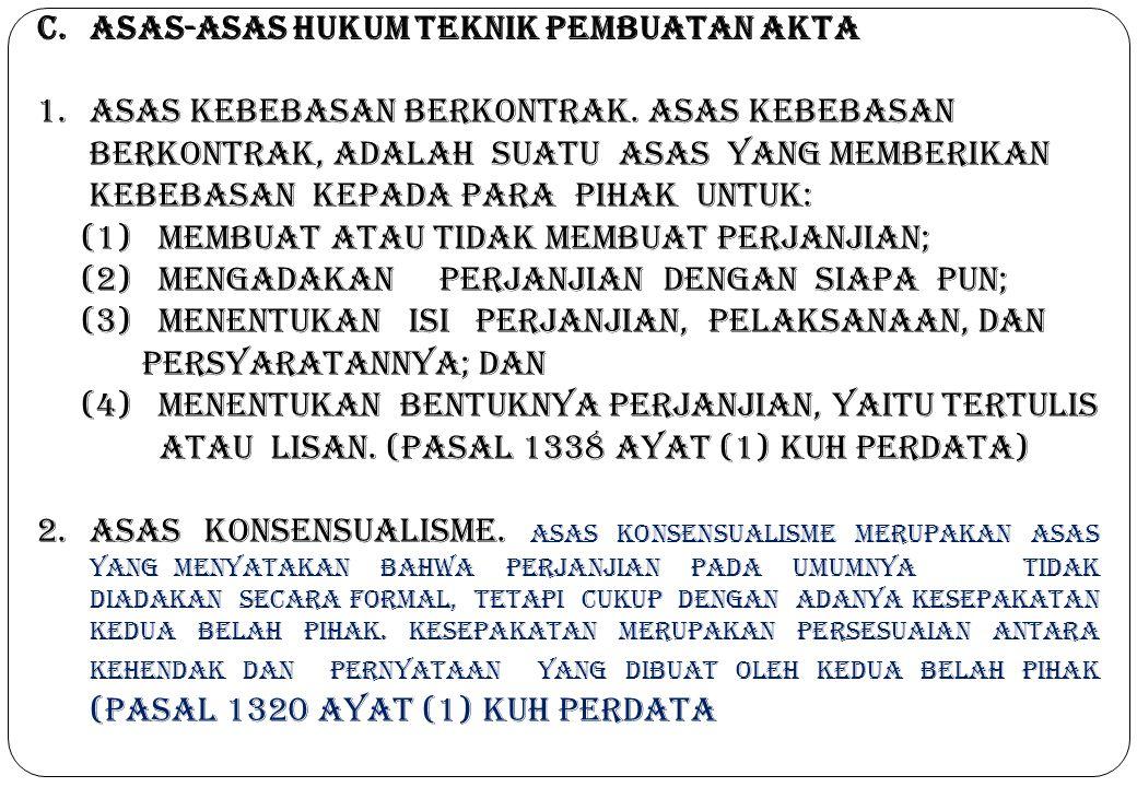 C.Asas-asas Hukum Teknik Pembuatan Akta 1.Asas kebebasan berkontrak. Asas Kebebasan Berkontrak, Adalah Suatu Asas Yang Memberikan Kebebasan Kepada Par