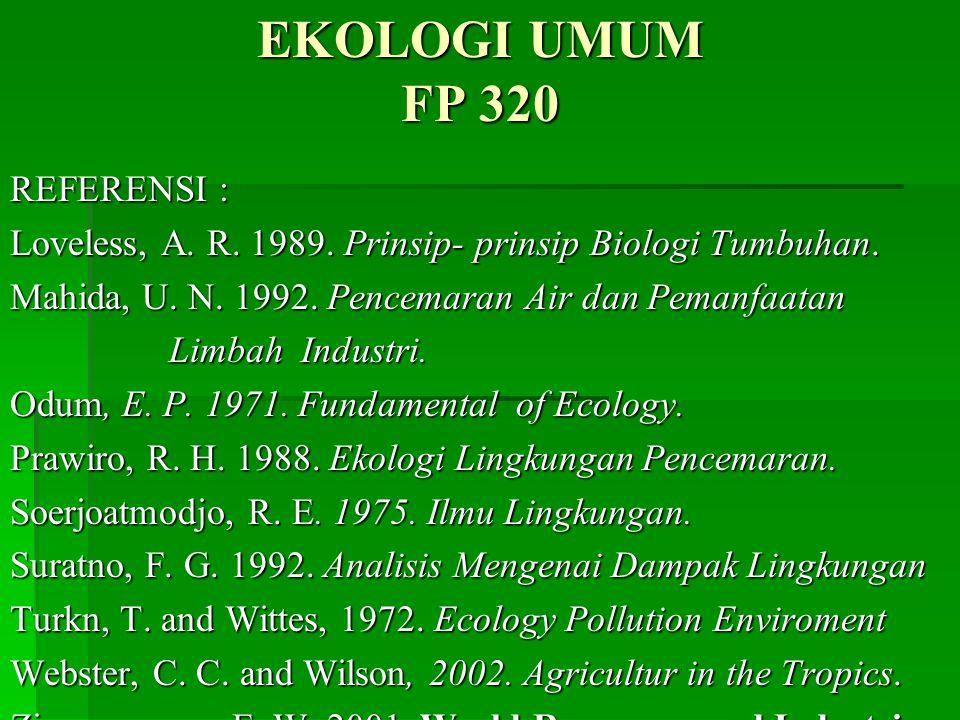 EKOLOGI UMUM FP 320 REFERENSI : Loveless, A.R. 1989.