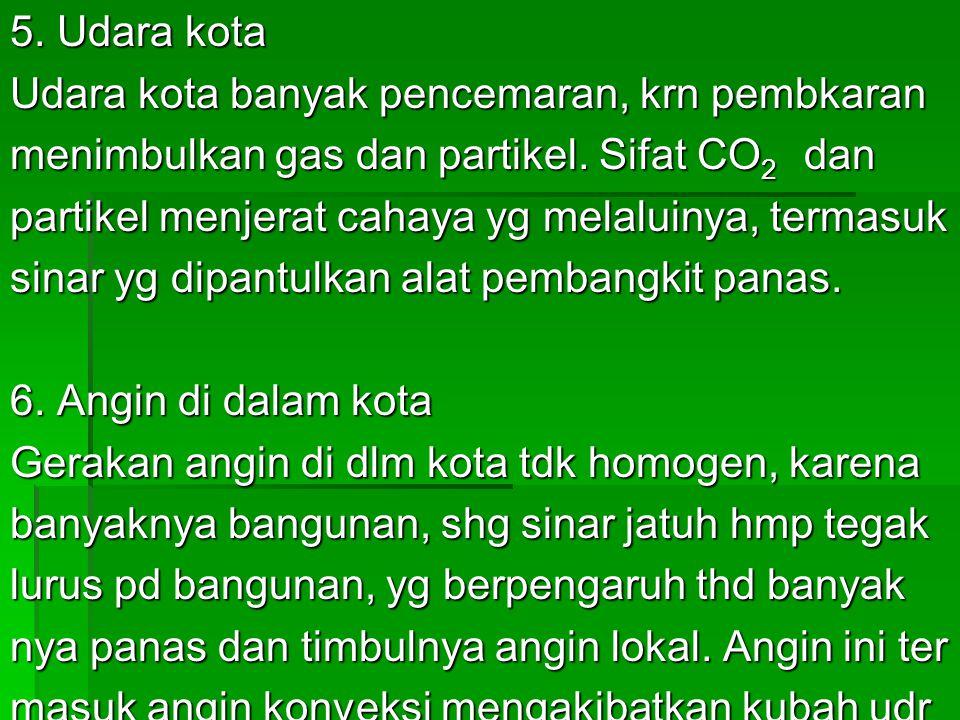 5.Udara kota Udara kota banyak pencemaran, krn pembkaran menimbulkan gas dan partikel.
