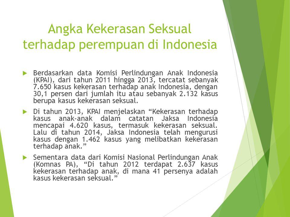 Angka Kekerasan Seksual terhadap perempuan di Indonesia  Berdasarkan data Komisi Perlindungan Anak Indonesia (KPAI), dari tahun 2011 hingga 2013, ter