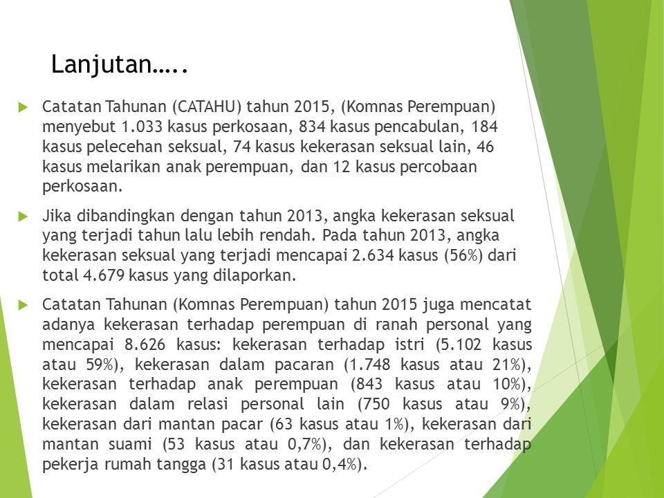 Lanjutan…..  Catatan Tahunan (CATAHU) tahun 2015, (Komnas Perempuan) menyebut 1.033 kasus perkosaan, 834 kasus pencabulan, 184 kasus pelecehan seksua