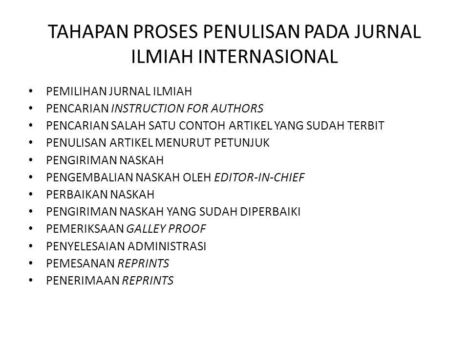 TAHAPAN PROSES PENULISAN PADA JURNAL ILMIAH INTERNASIONAL PEMILIHAN JURNAL ILMIAH PENCARIAN INSTRUCTION FOR AUTHORS PENCARIAN SALAH SATU CONTOH ARTIKE