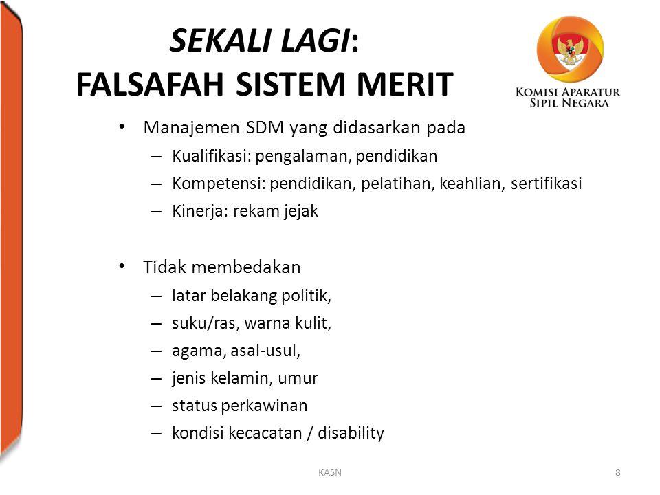 SEKALI LAGI: FALSAFAH SISTEM MERIT Manajemen SDM yang didasarkan pada – Kualifikasi: pengalaman, pendidikan – Kompetensi: pendidikan, pelatihan, keahl