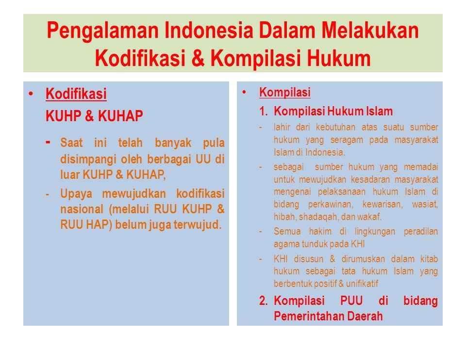 Pengalaman Indonesia Dalam Melakukan Kodifikasi & Kompilasi Hukum Kodifikasi KUHP & KUHAP - Saat ini telah banyak pula disimpangi oleh berbagai UU di luar KUHP & KUHAP, -Upaya mewujudkan kodifikasi nasional (melalui RUU KUHP & RUU HAP) belum juga terwujud.
